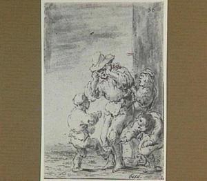 De gewonde Lazarillo wordt door straatjongens geschopt en geslagen (Lazarillo de Tormes dl. 2, cap. 13, p. 93)
