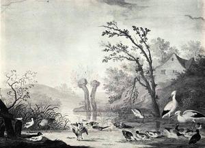 Heuvelachtig rivierlandschap met vogels bij de waterkant; rechts in de achtergrond een huis