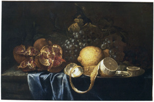 Stilleven met granaatappels en citroenen