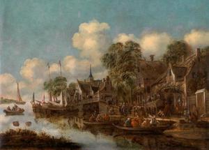 Gezicht op schepen bij een aanlegplaats buiten een dorp