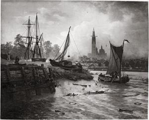 Uitzicht op de haven en de stad van Antwerpen