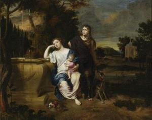 Familieportret in een parklandschap