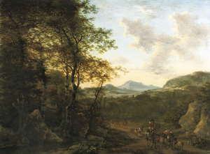Zuidelijk landschap met herders en vee onderweg