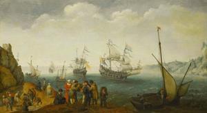 Marinevloot in een baai met handelaren op de voorgrond