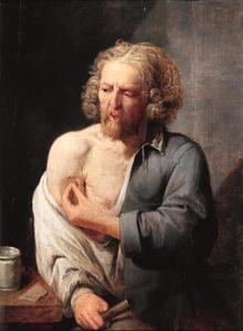 Man met een wond op zijn arm; allegorie op het Gevoel