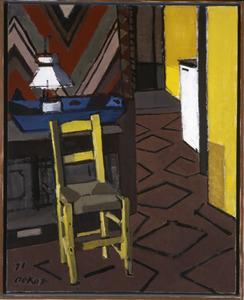 Groot interieur met gele stoel (Auvergne)