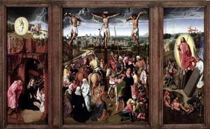 Drieluik met de geboorte en de verkondiging aan de herders (links), de kruisiging (midden), de opstanding (rechts)