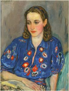 Portret van Liesje, in blauwe blouse