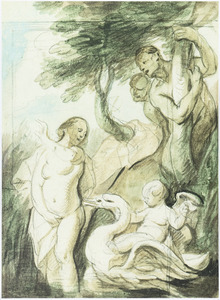 Badende nimf bespied door twee saters en een putto rijdend op een zwaan