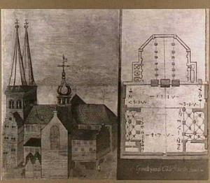 Aanzicht en plattegrond van de St. Salvator- of Oudmunsterkerk te Utrecht