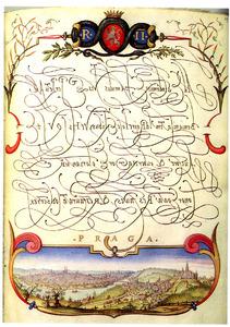 Gezicht op Praag met de initialen van keizer Rudolf II