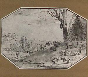 Heuvellandschap met geitenhoeder en zijn kudde