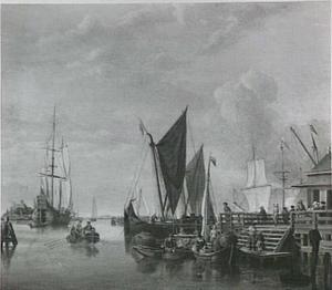 Gezicht op het IJ bij Amsterdam met rechts het Bothuisje en het Tolhuis