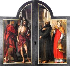 De Heiligen Andreas en Johannes de Doper (links); De Heiligen Franciscus en Nicolaas (rechts)