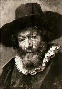 Kop van een oude man met hoed