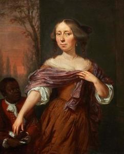 Portret van Jacomina le Pla (1647-1681), met een bediende