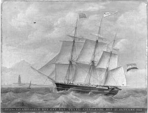 """Het fregatschip """"Gezina"""" het zeegat van Texel inzeilende, 27 januari 1841"""