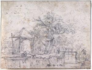 Hooiberg en boerderij aan het water, met figuren in een roeiboot