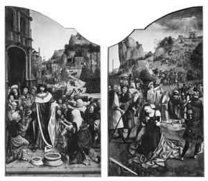 De H. Lodewijk deelt aalmoezen uit (links); De onthoofding van de H. Catharina (rechts)