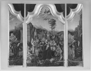 De H. Catharina (links), de H. Familie met musicerende engelen (midden), de H. Barbara (rechts)