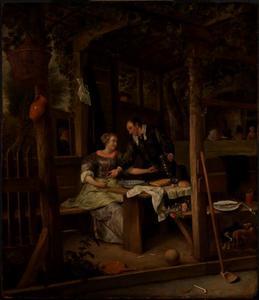 Man en vrouw in een herbergtuin