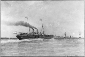 Gezicht op Vlissingen met op de voorgrond het stoomschip 'Prins Hendrik'