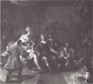 De Deense koning Christiaan I ontvangt in 1474 te Rothenburg ob der Tauber van de Duitse keizer Friedrich III de verheffing van het graafschap Holstein tot een hertogdom en de investituur met Dithmarschen
