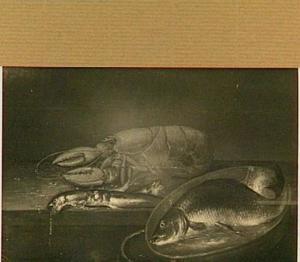 Visstilleven met een karper in een teil met water en een kreeft