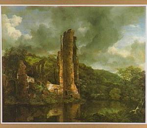 Landschap met de ruïne van kasteel Egmond