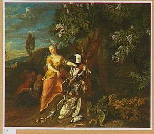 Elegant geklede figuren met jachtbuit in een landschap