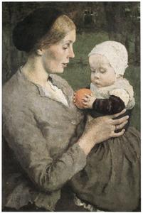 Moeder en kind met sinaasappel