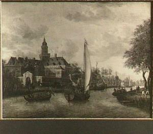 Gezicht over de Vecht op het kasteel Nijenrode bij Breukelen