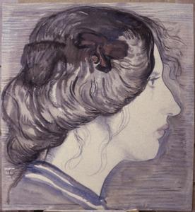 Portret vrouw en profil