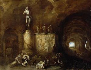 Binnenkant van een grot met beelden en slapende herders