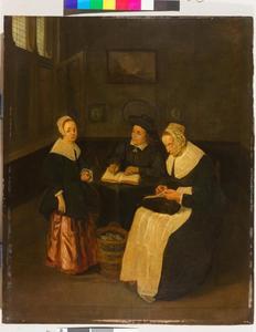 Man, vrouw en meisje in een interieur