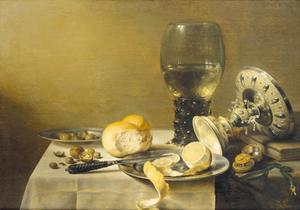Stilleven met tazza, roemer, brood en citroen