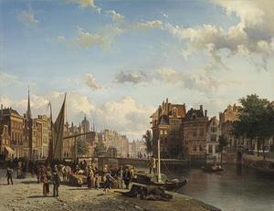 Het Rokin in Amsterdam naar de Langebrug en de Dam gezien