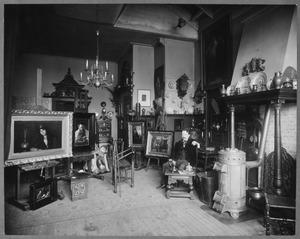Benjamin Prins in zijn atelier, Plantage Franselaan 25, Amsterdam
