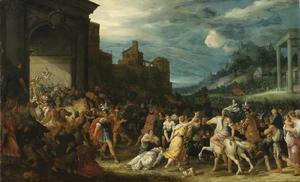 Landschap met de Horatii die Rome binnen komen