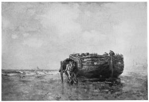 Schelpenvisser aan de kust bij Scheveningen