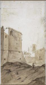 Via delle Tre Cannelle te Rome, op de achtergrond de zuil van Trajanus