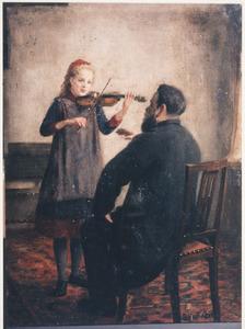 Portret van Elisabeth des Amonie van der Hoeven (1875-?), vioolspelend