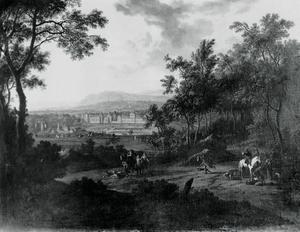 Bebost landschap met uitzicht op het Kasteel van Fontainebleau