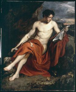 De H. Johannes de Doper als naakte jongeman in een berglandschap