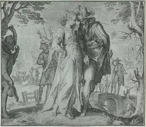 Allegorische voorstelling uit de serie 'De Onderwerping en Bevrijding der Nederlanden': Spanje (?) maakt Belgica het hof