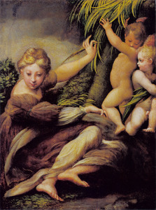Een martelares (de heilige Catharina van Alexandrië?) met twee engeltjes