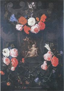 Allegorie van de smaak in een gebeeldhouwde cartouche versierd met bloemen