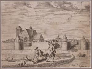 Ommuurde stad; op de voorgrond Tobias die de vis opensnijdt (Tobit 6:7)