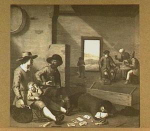 Interieur met rokende en drinkende mannen; op de voorgrond een slapende dronkaard