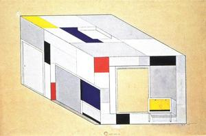 Axonometric view with ceiling, bookcase, and cabinet